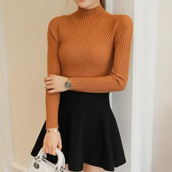 OHCLOTHING New winter half Polo neck long sleeved Pullover Sweater Shirt short stretch sweater slim girl