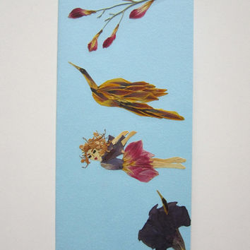 "Handmade unique greeting card ""Proof that humans can fly"" - Decorated with dried pressed flowers and herbs - Original art collage."