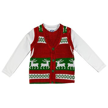 Ugly Christmas Sweater Vest Costume All Over Toddler Long Sleeve T Shirt