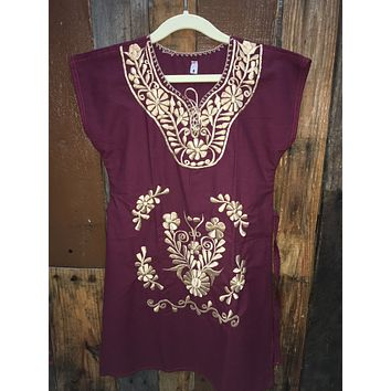Mexican Kimono Dress for Girls Wine/Gold