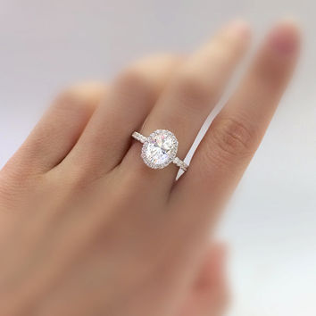 2.10 Carat Center Halo Engagement Ring-Oval Cut Diamond Simulants-Bridal Ring-Anniversary Ring-Wedding Ring-925 Sterling Silver-R39751