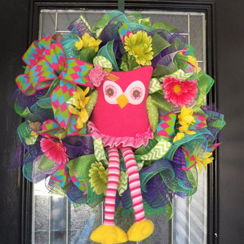 Deco Mesh Spring Wreath, Spring Wreath with Owl, Front Door Wreath, Ready to Ship