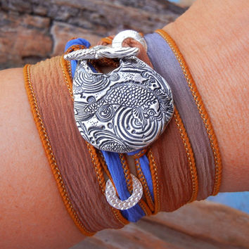 Sterling Silver Fish Silk Wrap Bracelet