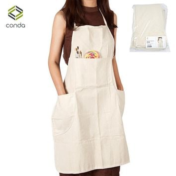Conda 3Pcs Adjustable Professional Bib Apron Cotton Canvas With 4 Pockets for Women Men Adults Waterproof Natural 31inch