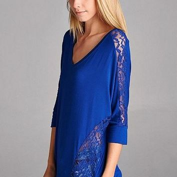 Lace Trim Dolman Tunic Top