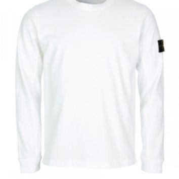 Stone Island White Cotton Sweatshirt