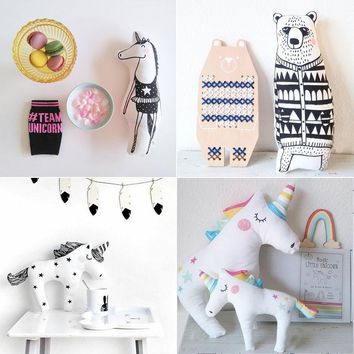 Cute Cartoon Unicorn Pony Fox Horse Bear Rabbit Girl Plush Toy Stuffed Animals Doll Soft Baby Sleeping Appease Pillow Gifts