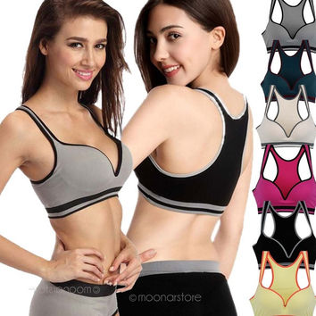 Women Soft Seamless Racerback Fitness Sports Yoga Push Up Padded Bra Vest Tops = 1932397060