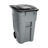 50 Gallon Gray Commercial Heavy-Duty Rollout Trash Can Waste/Utility Container