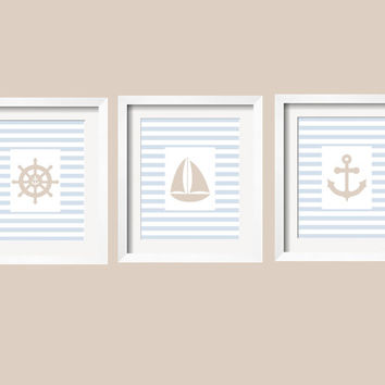 Nautical Print 11x14, many choices, Anchor, Captain's Wheel,Sailboat, Lighthouse in cloud blue and oatmeal by YassisPlace