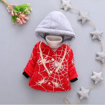 2016 new winter fashion for boy and girl baby cartoon pattern hooded coat + free gift