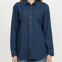 LE3NO Womens Boyfriend Denim Jean Button Down Shirt with Pockets