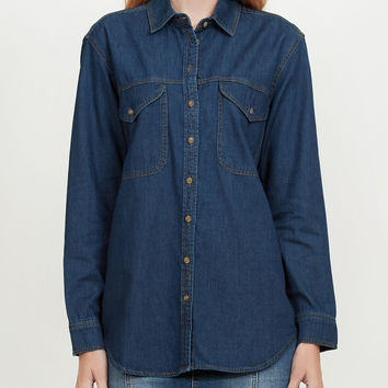 Boyfriend Denim Jean Button Down Shirt with Pockets