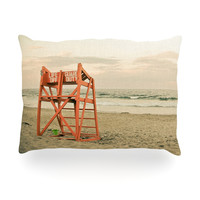 "Debbra Obertanec ""Dusk At the Beach"" Ocean Oblong Pillow"