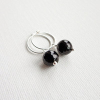 Onyx stone hoop earrings small silver earrings black stone pendant