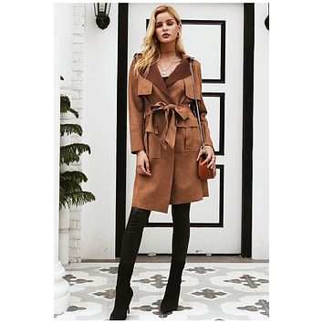 KCEE Turn Down Collar Suede Trench Coat