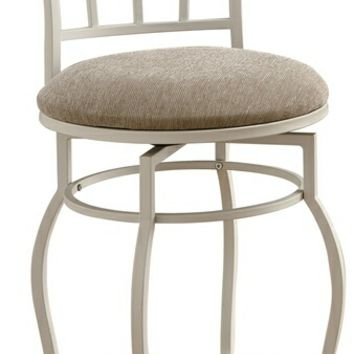 Egg shell white swivel metal counter height bar stool with fabric padded round seat