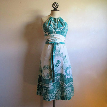 60s CALIFORNIA GIRL Cotton Dress Green Exotic Floral Screen Print Summer 1960s White Halter Dress XS