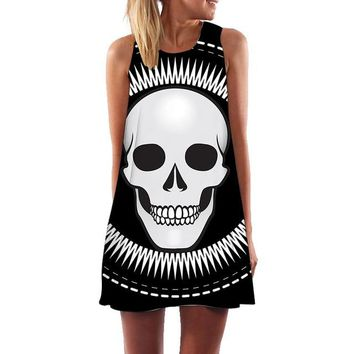 Women Sleeveless Skull Dress Beach Dress Casual