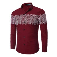 Print Long Sleeve Men's Fashion Men Simple Design Shirt [10831836227]