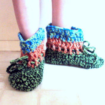 Crochet Easy On Slippers Chunky Bootie Slippers For Men or Women Crochet Slippers Bootie Slippers Boots Boho Slippers Knit Indoor Shoes