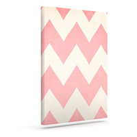 "Catherine McDonald ""Sweet Kisses"" Pink Chevron Outdoor Canvas Wall Art"