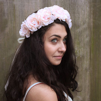 Blush Pink Rose Crown - Peony Rose Soft Pink Flower Crown, Bridal Hair, Weddings, Floral Hair Wreath, Vintage Inspired, Music Festivals