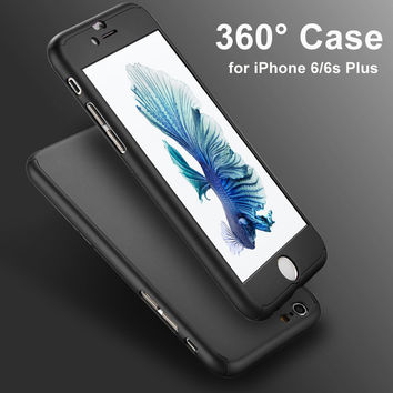 360 Degree Full Body Front Back Hard Phone Case for fundas iphone 6 6S 7 Plus Matte Finish Hybrid Cover Accessories+Temper Glass