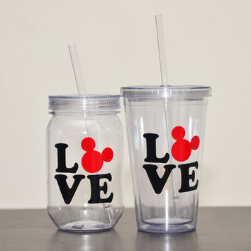 Love Mickey Mouse Double Wall Tumbler 17.5 oz Acrylic Plastic Cup Straw or 24 oz Plastic Mason Jar