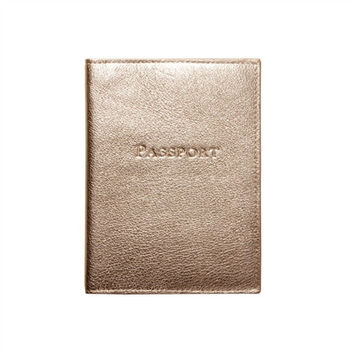 Gold Metallic Leather Passport Holder