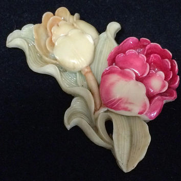 Celluloid Tulip Flower Pin Floral Brooch  Signed Japan Figural Jewelry Vintage Art Deco Mid Century Era 518