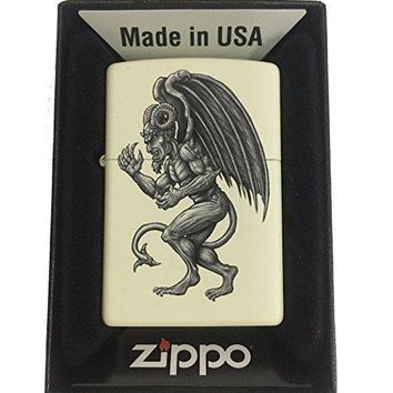 Zippo Custom Lighter - Demon Gargoyle Winged Horror Monster - Cream Matte