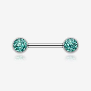 A Pair of Multi-Gem Sparkle Nipple Barbell Ring