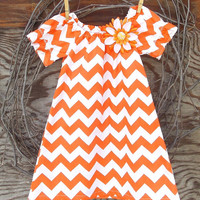 Girls Orange Chevron  Dress, Peasant Dress, Orange and white, Flower, or Bow,  Fall, Thanksgiving, 12, 18, 24 months, 2 T, 3 T, 4 T  size