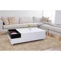 White Modern Coffee Table With Accent Tray & Metal Legs