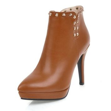 Womens PU Shoes Rivet Platform Zipper High Heels Solid  Round Toe