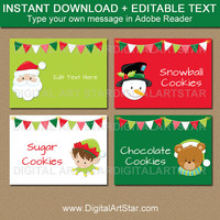 Kids Christmas Labels, Christmas Place Cards, Christmas Party Labels, Christmas Food Labels, Christmas Tent Card, Holiday Label Template C2