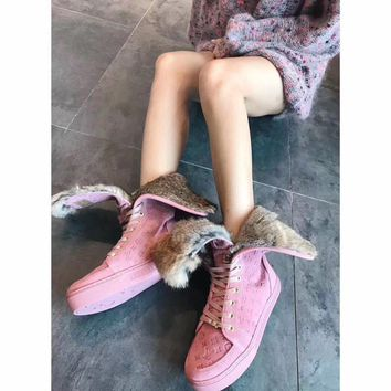 Luxurious Louis Vuitton LV Winter Sheepskin Pink Snow Boots