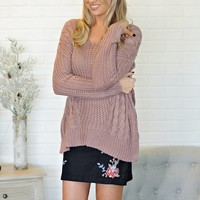 * Narissa Knit Sweater With Criss Cross Back : Mauve