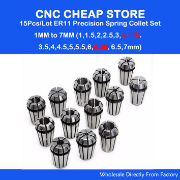 15Pc ER11 Collet chuck cnc clamp Spindle lathe tool holder Motor axis set 1-7MM CNC Router Engraving milling wood lather Machine