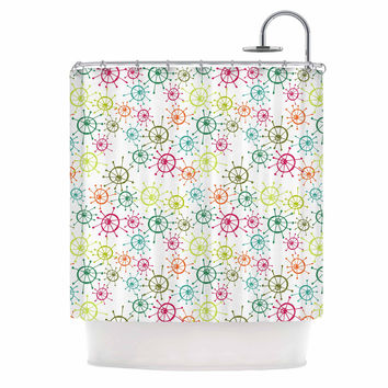 "Holly Helgeson ""Mod Flower Burst"" White Multicolor Shower Curtain"