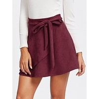 Suede Wrap Knotted Skirt