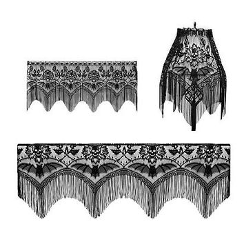Skulls and Bats Lace Valance - Curtains - Sin In Linen