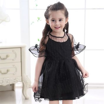 2017 Girl Princess Dress White Black Costume Flower Girls Party Dress Children Clothes For Little Girl Kids Summer Tutu Dresses