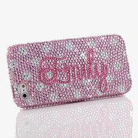 Pink Polka Personalized Name & Initials Design (style PN_1025)