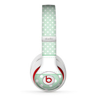 The Vintage Light Green Polka Dot With White Strip copy Skin for the Beats by Dre Headphones (All Versions Available)