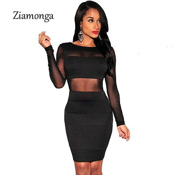 Bandage Dress Winter Black White Dress Long Sleeve Mesh Patchwork Hollow Out Pencil Bodycon Dress