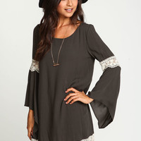 OLIVE CROCHET BELL CREPE DRESS