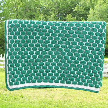 "Vintage green and white crochet afghan blanket throw - green hexagon crochet blanket 68"" x 59"""