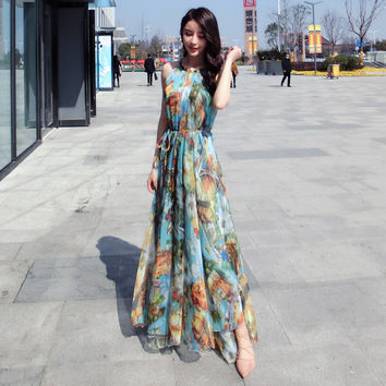 New Summer Style Halter Neck Colorful Chiffon Maxi Dress Oversize Holiday Beach Sundress maternity pregnancy photograph dress